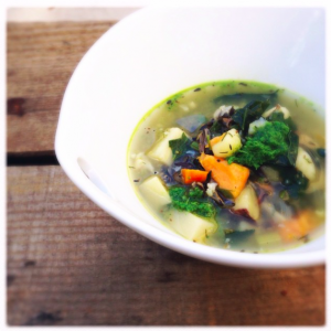 root soup with tarragon pesto