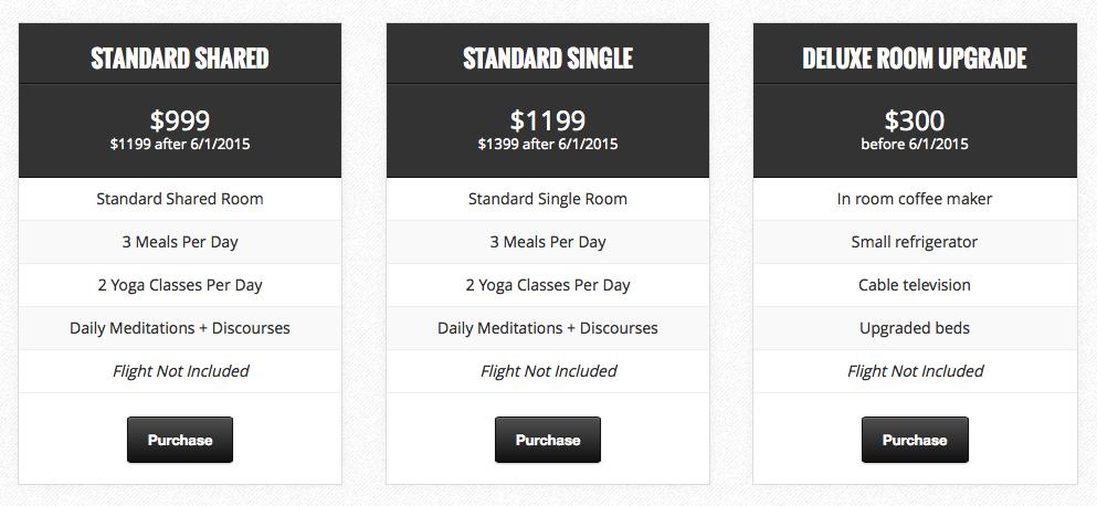 costa rica yoga retreat pricing