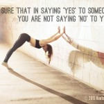 Self care affirmation with girl doing yoga