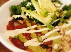Quinoa and Roasted Garlic Chili Bowl w/ Tahini