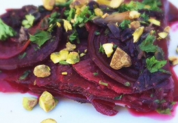 "Beet ""Gratin"" with Crushed Pistachios"