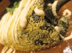 Pine Nut Cheese Chile Rellenos with Citrus Black Bean Sauce